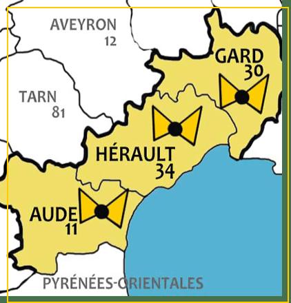 Chaque ville et commune du Gard, de l'Hérault et de l'Aude sont desservies par nos équipes de livraison de plateaux-repas